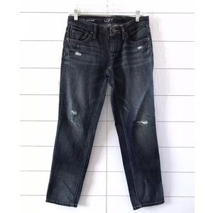 LOFT Blue Denim Distressed Boyfriend Jeans